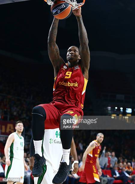 Deon Thompson #9 of Galatasaray Odeabank Istanbul in action during the 2016/2017 Turkish Airlines EuroLeague Regular Season Round 8 game between...