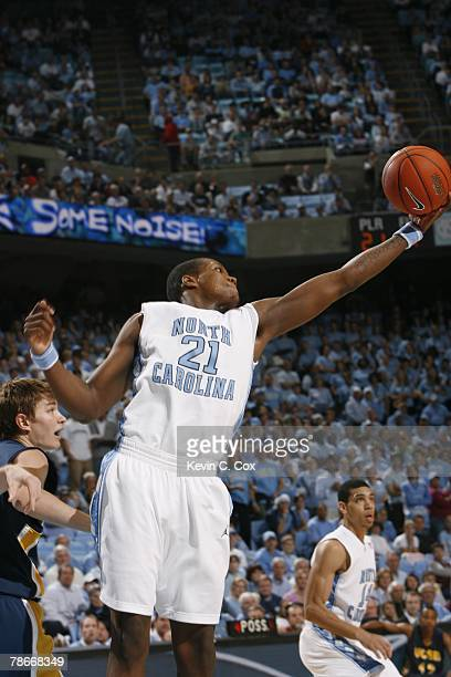 Deon Thompson of the North Carolina Tar Heels goes up for a layup against the UC Santa Barbara Gauchos during the game at the Dean E Smith Center on...