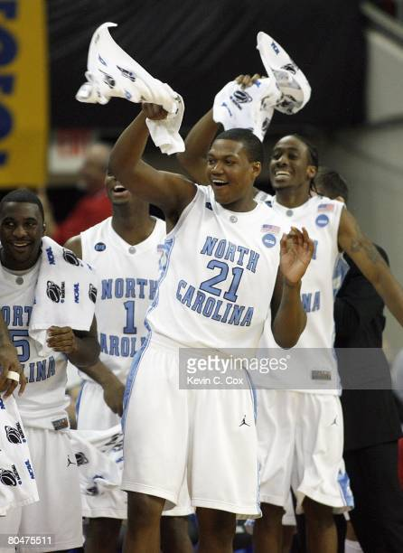 Deon Thompson of the North Carolina Tar Heels leads the team in a cheer against the Mount St. Mary's Mountaineers during the 1st round of the 2008...