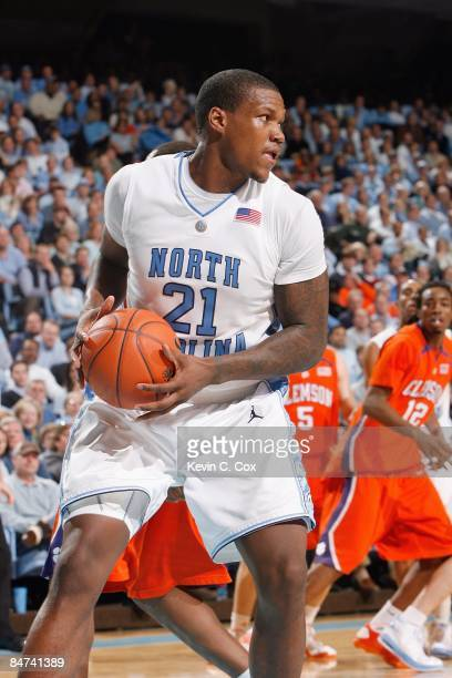 Deon Thompson of the North Carolina Tar Heels looks to move the ball against the Clemson Tigers during the game on January 21 2009 at the Dean E...