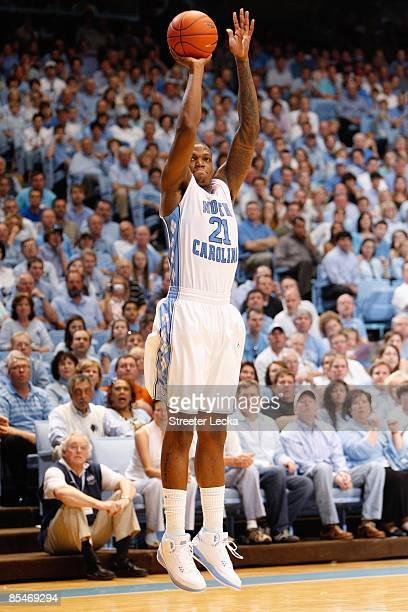 Deon Thompson of the North Carolina Tar Heels shoots a jump shot against the Duke Blue Devils during the game at the Dean E. Smith Center on March 8,...