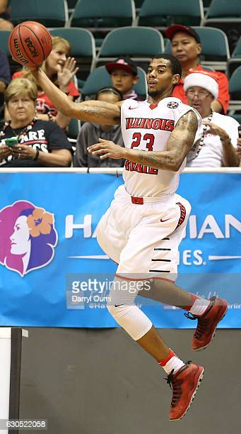 Deontae Hawkins of the Illinois State Redbirds leaps to save a ball from going out of bounds during the second half of the Diamond Head Classic third...