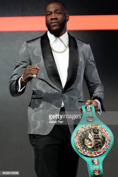 Deontay Wilder addresses the media during the 2018 Showtime Championship Boxing Event at Cipriani 42nd Street on January 24 2018 in New York City