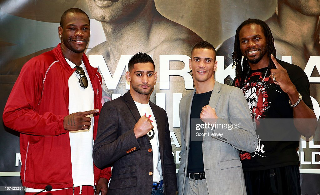 Deontay Wilder, Amir Khan, Anthony Ogogo and Audley Harrison during a Press Conference at Mercure Sheffield St. Paul's Hotel & Spa on April 25, 2013 in Sheffield, England.