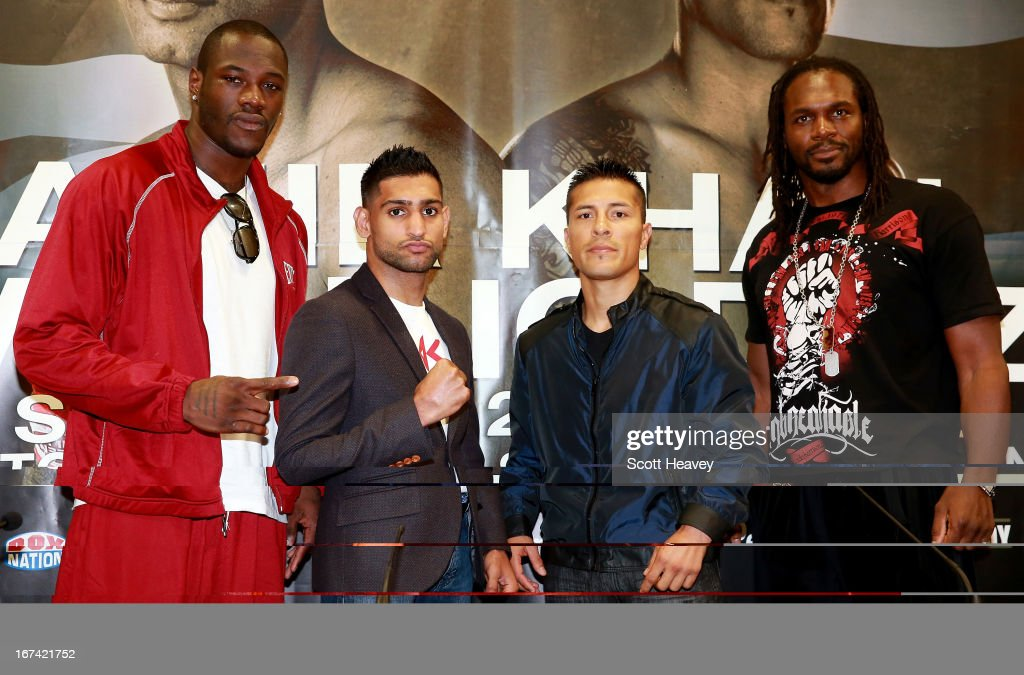 Deontay Wilder, Amir Khan, Julio Diaz and Audley Harrison during a Press Conference at Mercure Sheffield St. Paul's Hotel & Spa on April 25, 2013 in Sheffield, England.
