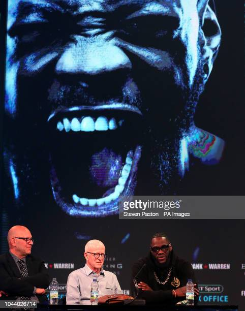 Deontay Wilder and promoter Lou DiBella during a press conference at BT Sport Studio London PRESS ASSOCIATION Photo Picture date Monday October 1...