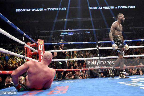 Deontay Wilder and Tyson Fury during the WBC Heavyweight Championship bout at the Staples Center in Los Angeles PRESS ASSOCIATION Photo Picture date...