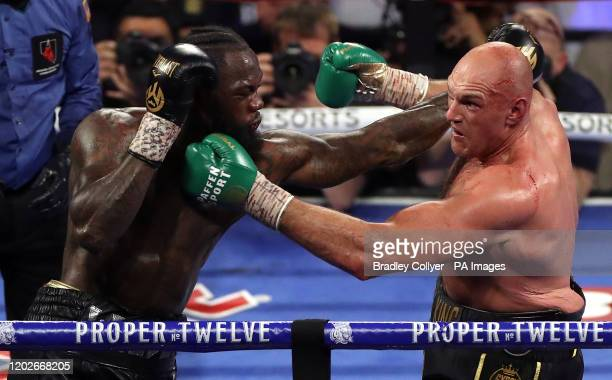 Deontay Wilder and Tyson Fury during the World Boxing Council World Heavy Title bout at the MGM Grand Las Vegas