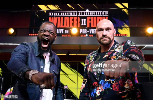 Deontay Wilder and Tyson Fury face off during a news conference at Fox Studios on January 25 2020 in Los Angeles California