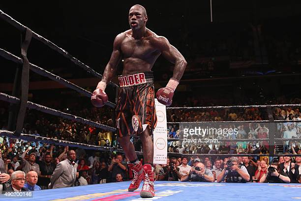 Deontay Wilder celebrates after defeating Johann Duhaupas at Legacy Arena at the BJCC on September 26 2015 in Birmingham Alabama