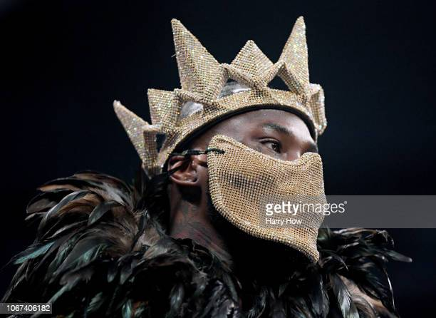 Deontay Wilder costume as he enters the ring to fight Tyson Fury during the WBC Heavyweight Championship at Staples Center on December 1 2018 in Los...
