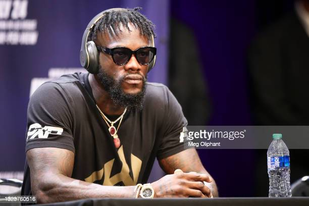 Deontay Wilder declines to speak during the press conference with Tyson Fury at The Novo by Microsoft at L.A. Live on June 15, 2021 in Los Angeles,...