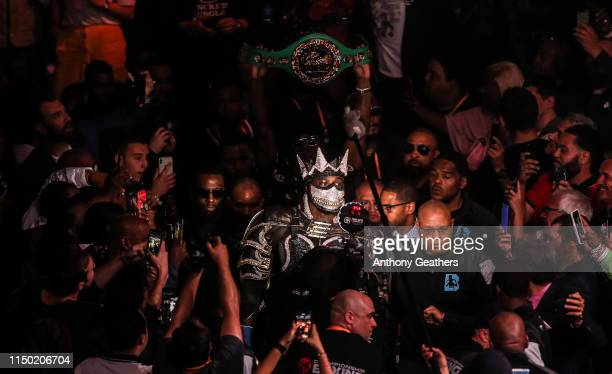 Deontay Wilder enters the ring against Dominic Breazeale to defend the WBC heavyweight championship at Barclays Center on May 18, 2019 in New York...