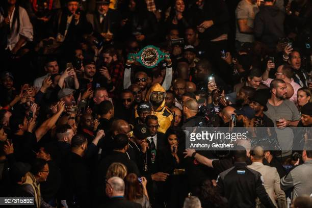 Deontay Wilder enters the ring against Luis Ortiz during their WBC Heavyweight Championship fight at Barclays Center on March 3 2018 in the Brooklyn...
