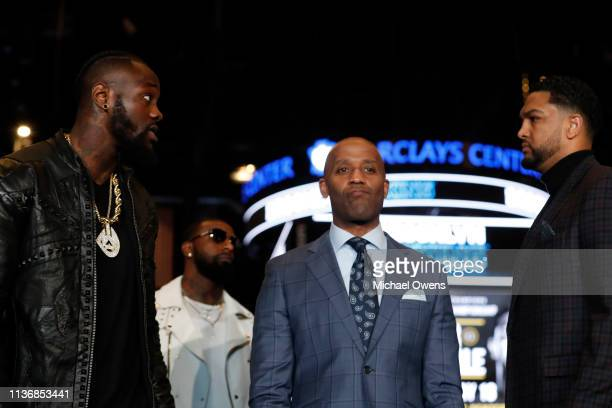 Deontay Wilder faces off with Dominic Breazeale during a press conference at Barclays Center on March 19 2019 in the Brooklyn borough of New York City