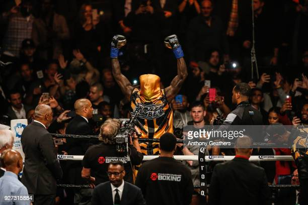 Deontay Wilder greets the crowd before fighting Luis Ortiz in their WBC Heavyweight Championship fight at Barclays Center on March 3 2018 in the...