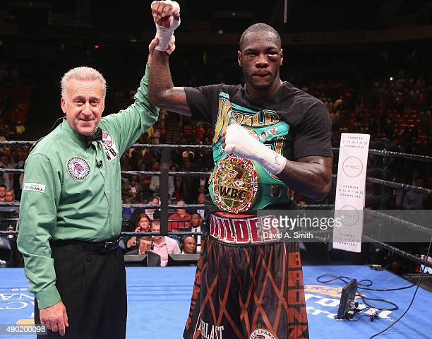 Deontay Wilder is declared the winner in his fight with Johann Duhaupas at Legacy Arena at the BJCC on September 26 2015 in Birmingham Alabama