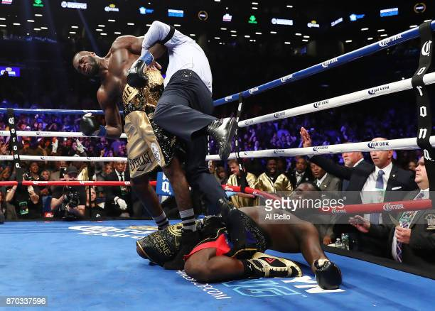Deontay Wilder knocks out Bermane Stiverne in the first round as referee Arthur Mercante Jr steps in during their rematch for Wilder's WBC...