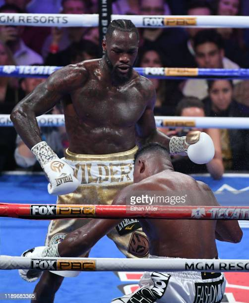 Deontay Wilder knocks out Luis Ortiz in the seventh round of their WBC heavyweight title fight at MGM Grand Garden Arena on November 23 2019 in Las...