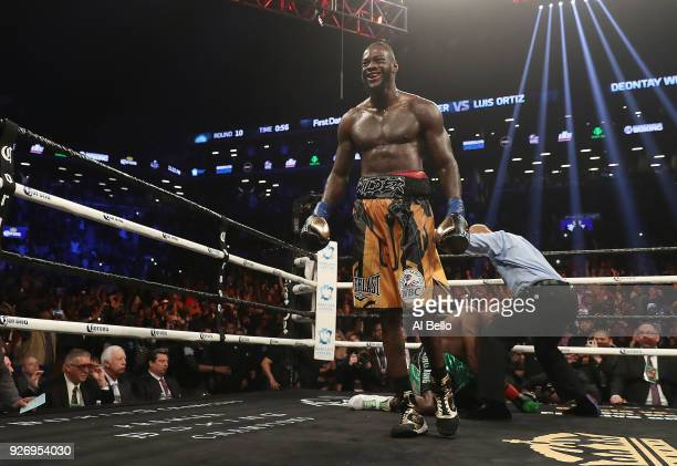 Deontay Wilder knocks out Luis Ortiz in the tenth round of their WBC Heavyweight Championship fight at Barclays Center on March 3 2018 in the...