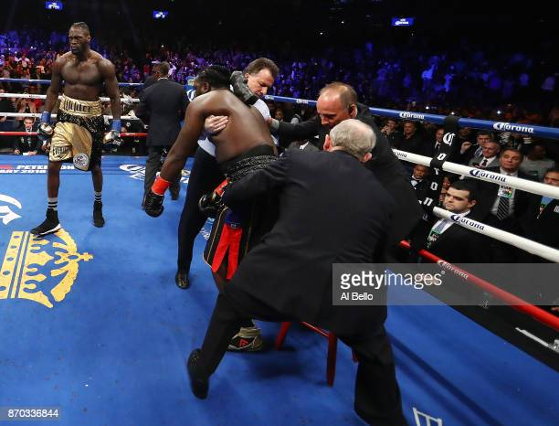 Deontay Wilder looks on after knocking out Bermane Stiverne in the first round during their rematch for Wilder's WBC heavyweight title at the...