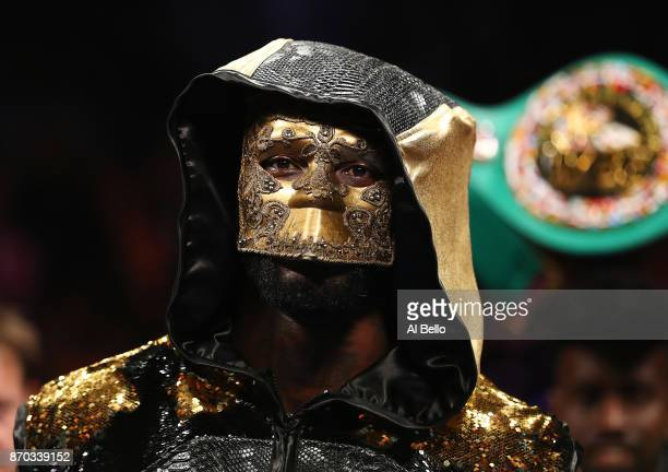 Deontay Wilder looks on before his fight against Bermane Stiverne during their rematch for Wilder's WBC heavyweight title at the Barclays Center on...