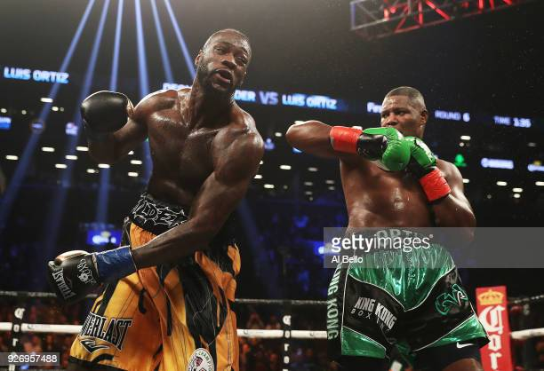 Deontay Wilder misses a punch against Luis Ortiz during their WBC Heavyweight Championship fight at Barclays Center on March 3 2018 in the Brooklyn...