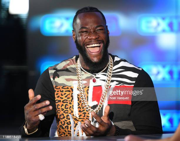 "Deontay Wilder visits ""Extra"" at Burbank Studios on November 18, 2019 in Burbank, California."
