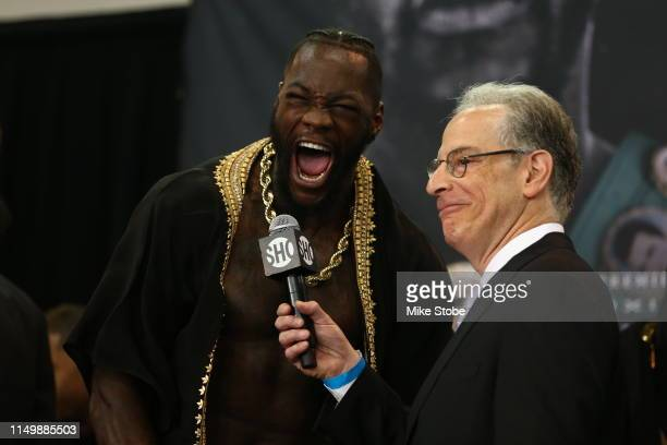 Deontay Wilder yells during his official weighin against Dominic Breazeale at LIU Athletic Center on May 17 2019 in the Brooklyn borough of New York...