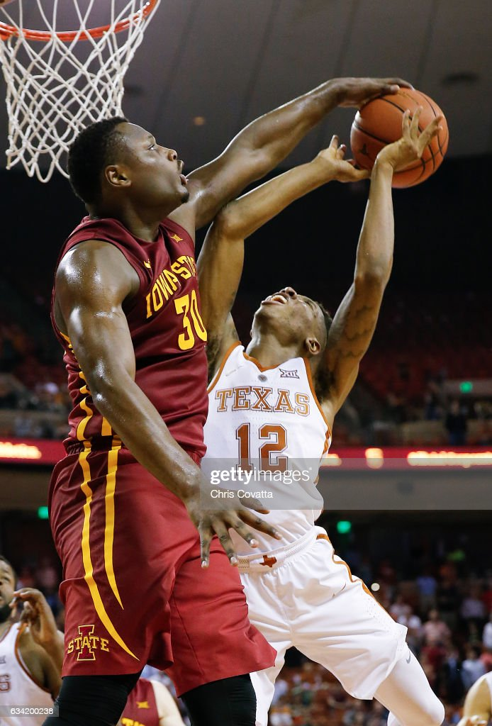 Deonte Burton #30 of the Iowa State Cyclones attempts to block the shot by Kerwin Roach Jr. #12 of the Texas Longhorns at the Frank Erwin Center on February 7, 2017 in Austin, Texas.