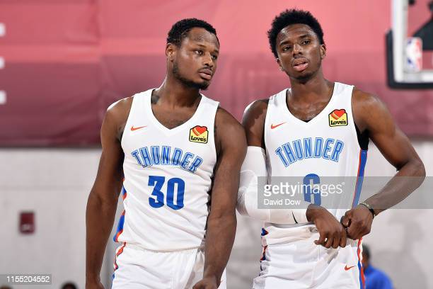Deonte Burton of the Oklahoma City Thunder and Hamidou Diallo talk during the game against the Portland Trail Blazers during Day 7 of the 2019 Las...