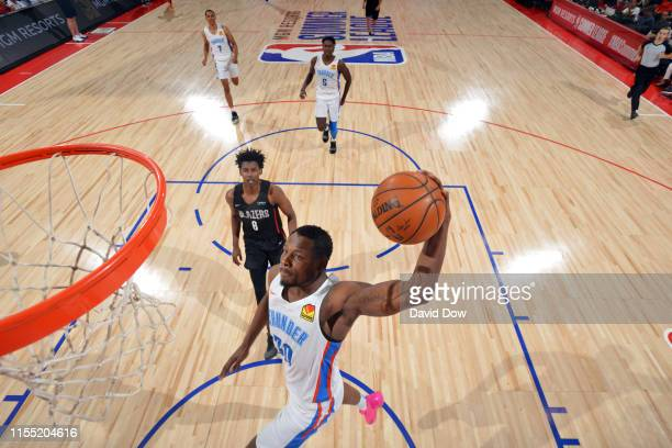 Deonte Burton of the Oklahoma City Thunder dunks the ball during the game against the Portland Trail Blazers during Day 7 of the 2019 Las Vegas...