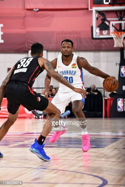Deonte Burton of the Oklahoma City Thunder handles the ball during the game against the Portland Trail Blazers during Day 7 of the 2019 Las Vegas...