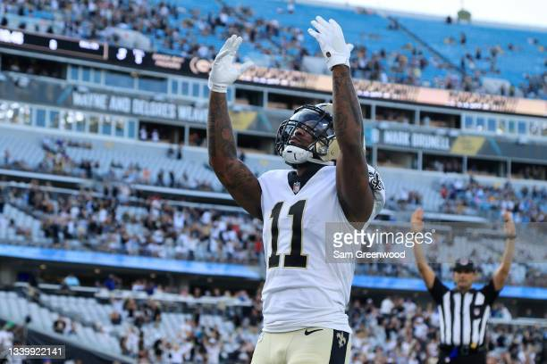 Deonte Harris of the New Orleans Saints reacts following his touchdown reception against the Green Bay Packers during the fourth quarter at TIAA Bank...