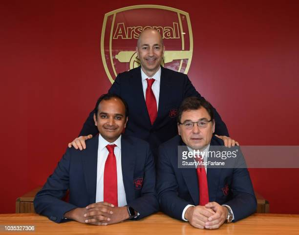 Departing Arsenal Chief Executive Officer Ivan Gazidis with his successors Head of Football Raul Sanllehi and Managing Director Vinai Venkatesham at...