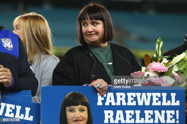 Departing Bulldogs CEO Raelene Castle stands on stage after a presentation to the players and officials leaving the club at the end of the season...