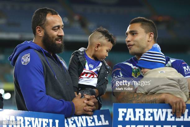 Departing Bulldogs players Sam Kasiano and Michael Lichaa talk on stage after a presentation to the players and officials leaving the club at the end...