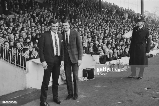 Departing manager of Coventry City FC Jimmy Hill pictured on right as he introduces new manager Noel Cantwell to fans at the club's Highfield Road...