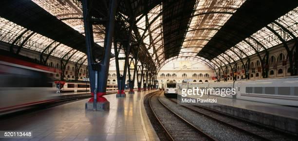 Departing Train at Estació de Franca, Barcelona/Spain