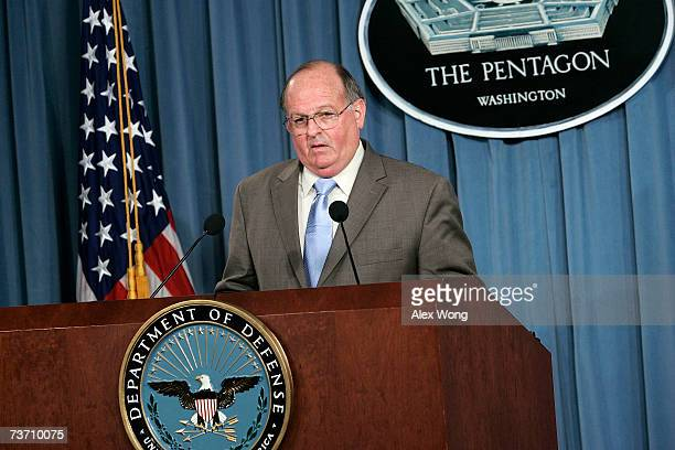 S Department of Defense Acting Inspector General Thomas Gimble speaks during a news briefing on the investigation of the death of former NFL player...