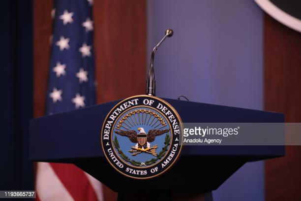 Department of Defense logo is seen on the desk ahead of the press conference of U.S. Secretary of Defense, Mark Esper and Japanese Defense Minister...