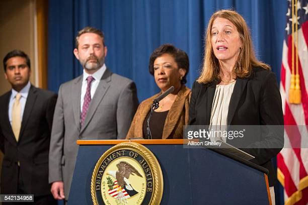 Department of Health and Human Services Secretary Sylvia Mathews Burwell speaks as she joins Attorney General Loretta E Lynch center and other law...