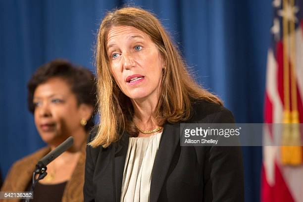 Department of Health and Human Services Secretary Sylvia Mathews Burwell speaks at a press conference on June 22 2016 in Washington DC Attorney...