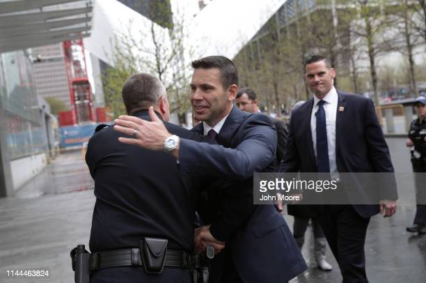 Department of Homeland Security Acting Secretary Kevin McAleenan greets a US Customs and Border Protection official at the One World Trade Center on...