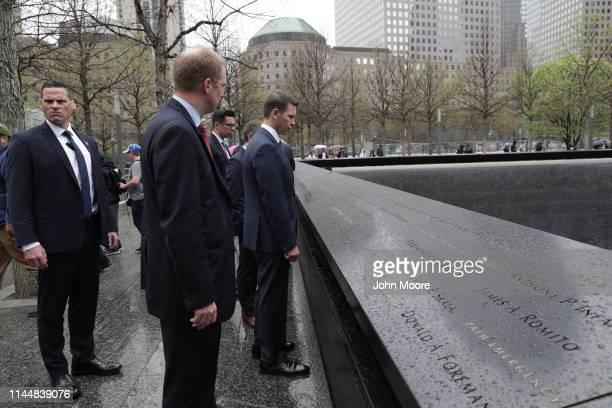 Department of Homeland Security Acting Secretary Kevin McAleenan pays his respects at the September 11 Memorial on April 22 2019 in New York City...