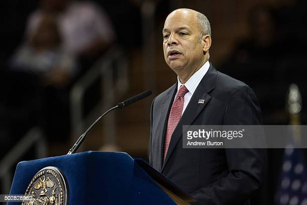 Department of Homeland Security Chief Jeh Johnson speaks at the New York Police Department graduation ceremony on December 29 2015 at Madison Square...