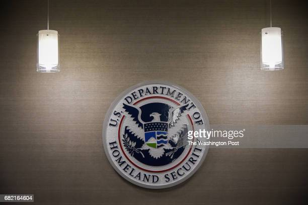 S Department of Homeland Security logo is seen inside press conference room on Thursday May 11 at the US Immigration and Customs Enforcement...