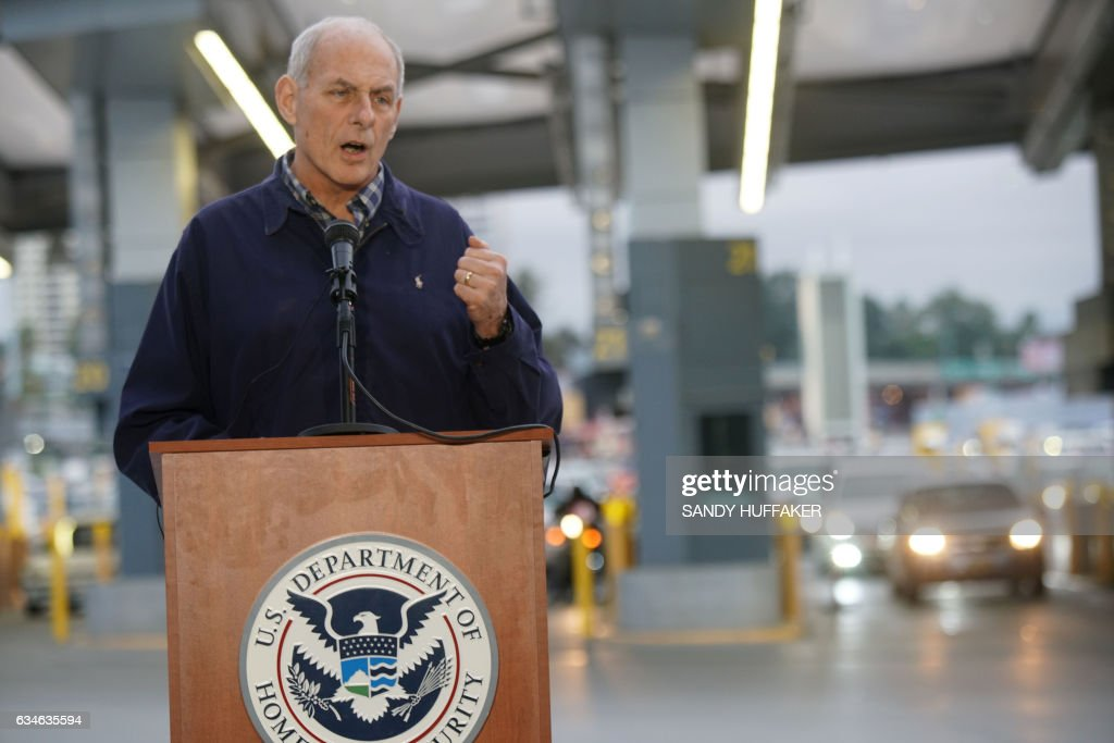 US Department of Homeland Security (DHS) Secretary John Kelly speaks to reporters during a press conference at the San Ysidro Port of Entry on Friday, February 10, 2017. Kelly met with DHS employees and state and local law enforcement officials. / AFP / Sandy Huffaker