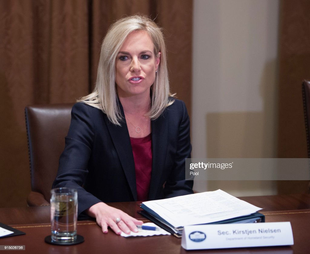 U.S. Department of Homeland Security Secretary Kirsten Nielsen participates in a law enforcement round table on MS-13 hosted by President Donald Trump at the White House on February 6, 2018 in Washington, DC.