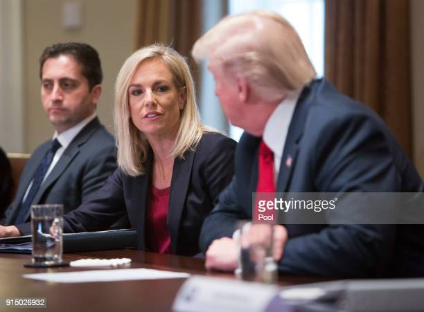 US Department of Homeland Security Secretary Kirsten Nielsen participates in a law enforcement round table on MS13 hosted by President Donald Trump...